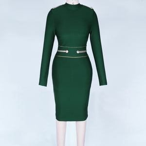Round Neck Long Sleeve Metal Studded Mini Bandage Dress PP1110 13 in wolddress