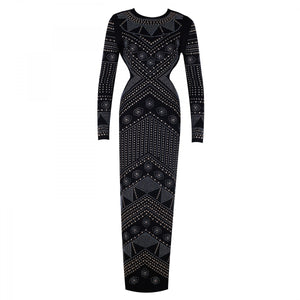 Round Neck Long Sleeve Diamente Embellished Maxi Bodycon Dress HJ513 6 in wolddress