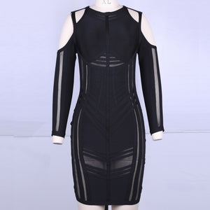 Strappy Long Sleeve Sidestripe Over Knee Bandage Dress HK012 13 in wolddress