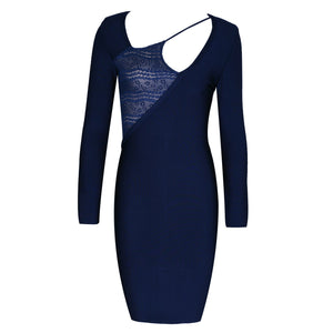 Round Neck Long Sleeve Lace Decorated Midi Bandage Dress HI920 1 in wolddress