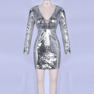 V Neck Long Sleeve Sequined Mini Bodycon Dress HI1001 2 in wolddress