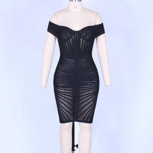 Off Shoulder Short Sleeve Mesh Mini Bandage Dress PO0001 4 in wolddress
