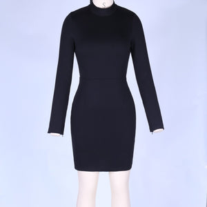 Round Neck Long Sleeve Backless Mini Bodycon Dress HI984 2 in wolddress