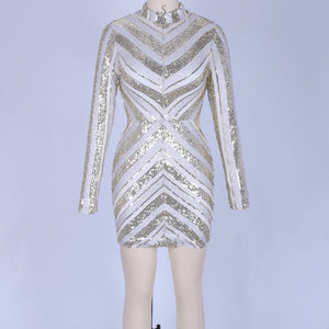 Round Neck Long Sleeve Sequined Mini Bodycon Dress SW060 2 in wolddress