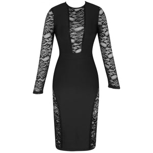 Round Neck Long Sleeve Mesh Over Knee Bandage Dress PF19231 4 in wolddress