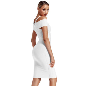 V Neck Mid Sleeve Striped Over Knee Bandage Dress PF19089 24 in wolddress