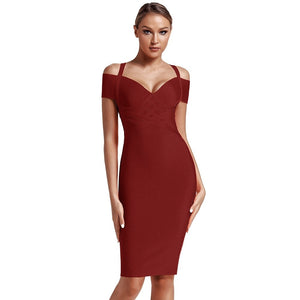 V Neck Mid Sleeve Striped Over Knee Bandage Dress PF19089 11 in wolddress