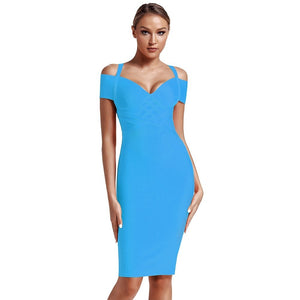 V Neck Mid Sleeve Striped Over Knee Bandage Dress PF19089 65 in wolddress