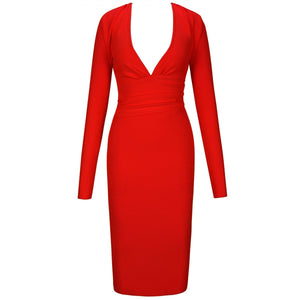 V Neck Long Sleeve Girdle Over Knee Bandage Dress PF19127 5 in wolddress