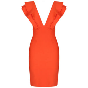 V Neck Sleeveless Frill Over Knee Bandage Dress PM19225 4 in wolddress