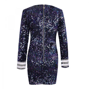 V Neck Long Sleeve Sequined Mini Bodycon Dress HW240 10 in wolddress