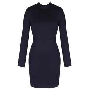 Round Neck Long Sleeve Backless Mini Bodycon Dress HI984 1 in wolddress