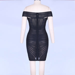 Off Shoulder Short Sleeve Mesh Mini Bandage Dress PO0001 6 in wolddress