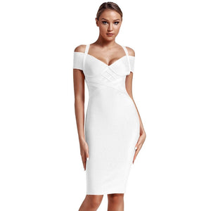 V Neck Mid Sleeve Striped Over Knee Bandage Dress PF19089 23 in wolddress