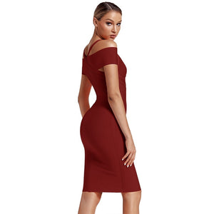 V Neck Mid Sleeve Striped Over Knee Bandage Dress PF19089 12 in wolddress