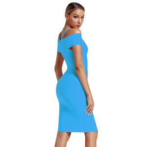 V Neck Mid Sleeve Striped Over Knee Bandage Dress PF19089 66 in wolddress
