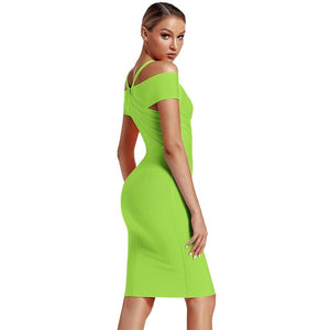 V Neck Mid Sleeve Striped Over Knee Bandage Dress PF19089 61 in wolddress