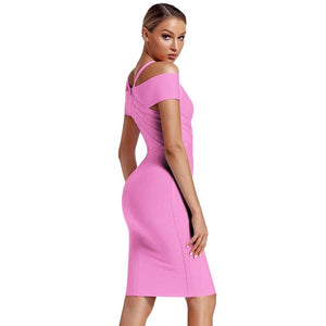 V Neck Mid Sleeve Striped Over Knee Bandage Dress PF19089 47 in wolddress