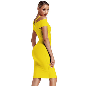 V Neck Mid Sleeve Striped Over Knee Bandage Dress PF19089 2 in wolddress