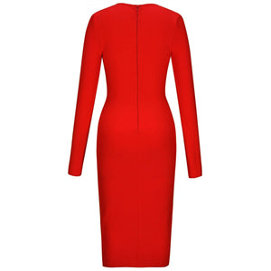 V Neck Long Sleeve Girdle Over Knee Bandage Dress PF19127 6 in wolddress