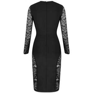 Round Neck Long Sleeve Mesh Over Knee Bandage Dress PF19231 6 in wolddress