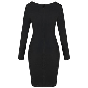 Round Neck Long Sleeve Hollow Out Mini Bandage Dress PF19202 6 in wolddress