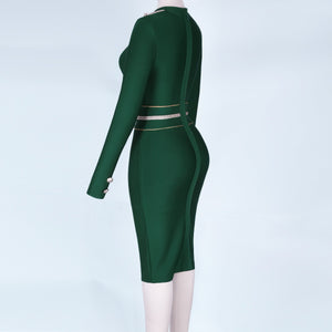 Round Neck Long Sleeve Metal Studded Mini Bandage Dress PP1110 14 in wolddress