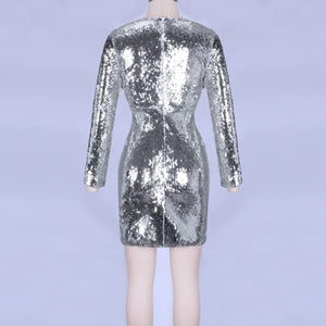 V Neck Long Sleeve Sequined Mini Bodycon Dress HI1001 4 in wolddress