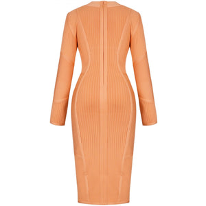 High Neck Long Sleeve Striped Over Knee Bandage Dress PP19026 7 in wolddress