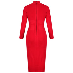 Round Neck Long Sleeve Striped Over Knee Bandage Dress PF1201 18 in wolddress