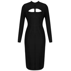 High Neck Long Sleeve Cut Out Over Knee Bandage Dress PP1103 24 in wolddress