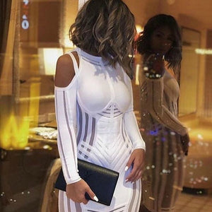 Strappy Long Sleeve Sidestripe Over Knee Bandage Dress HK012 3 in wolddress