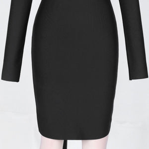 High Neck Long Sleeve Mesh Mini Bandage Dress PP19197 10 in wolddress