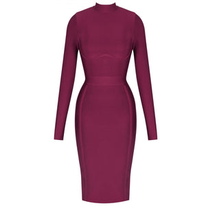 Round Neck Long Sleeve Plain Midi Bandage Dress HJ672 5 in wolddress