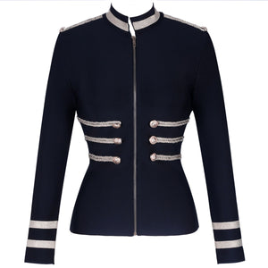 Round Neck Long Sleeve Metal Studded Bandage Jacket PP1115 28 in wolddress
