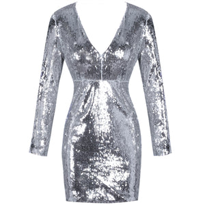 V Neck Long Sleeve Sequined Mini Bodycon Dress HI1001 1 in wolddress