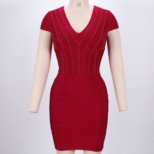 V Neck Short Sleeve Plain Mini Bandage Dress SW027 4 in wolddress