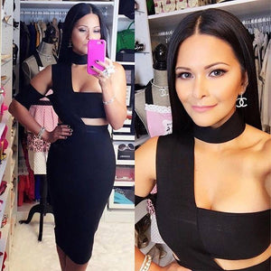 Halter Sleeveless Cut out Midi Bandage Dress SP015 2 in wolddress
