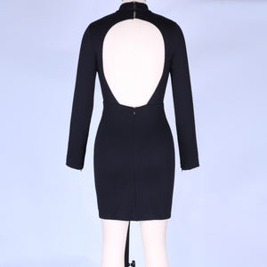 Round Neck Long Sleeve Backless Mini Bodycon Dress HI984 4 in wolddress