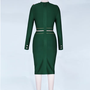 Round Neck Long Sleeve Metal Studded Mini Bandage Dress PP1110 15 in wolddress