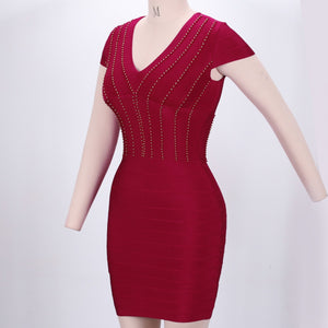 V Neck Short Sleeve Plain Mini Bandage Dress SW027 5 in wolddress