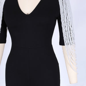 V Neck Mid Sleeve Beaded Bodycon Jumpsuit HW298 14 in wolddress
