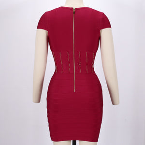 V Neck Short Sleeve Plain Mini Bandage Dress SW027 6 in wolddress