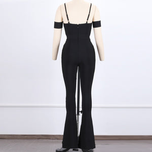 Strappy Short Sleeve Cut Out Bandage Jumpsuit HJ607 4 in wolddress