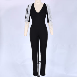 V Neck Mid Sleeve Beaded Bodycon Jumpsuit HW298 11 in wolddress