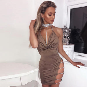 Sequins Ladder Cutout Open Back Bodycon Dress CS814