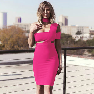 𝐋𝐢𝐦𝐢𝐭𝐞𝐝 𝐒𝐭𝐨𝐜𝐤 | Halter Sleeveless Cut out Midi Bandage Dress SP015