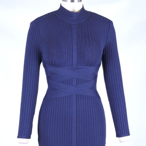 Round Neck Long Sleeve Striped Over Knee Bandage Dress PF1201 7 in wolddress