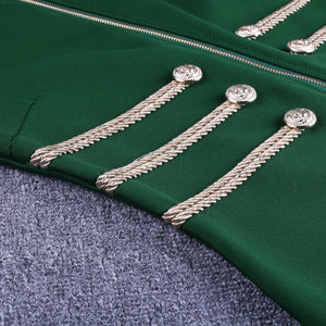 Round Neck Long Sleeve Metal Studded Bandage Jacket PP1115 20 in wolddress