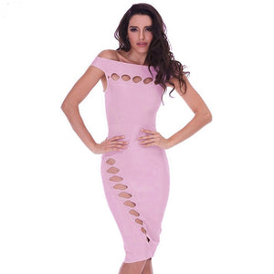 Off Shoulder Sleeveless Cut Out Mini Bandage Dress HD387 16 in wolddress